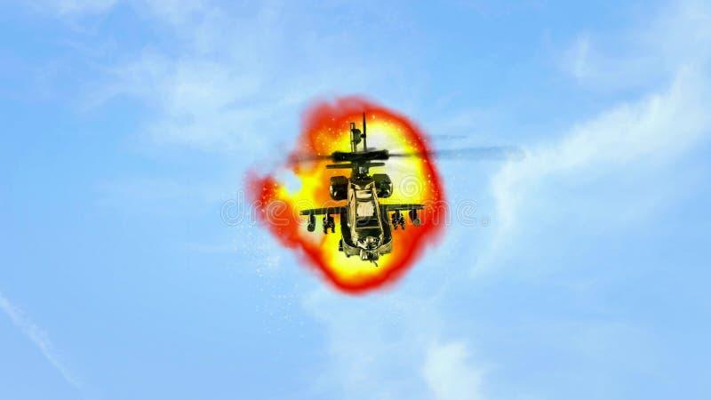 Voo do helicóptero na frente da explosão fotos de stock royalty free