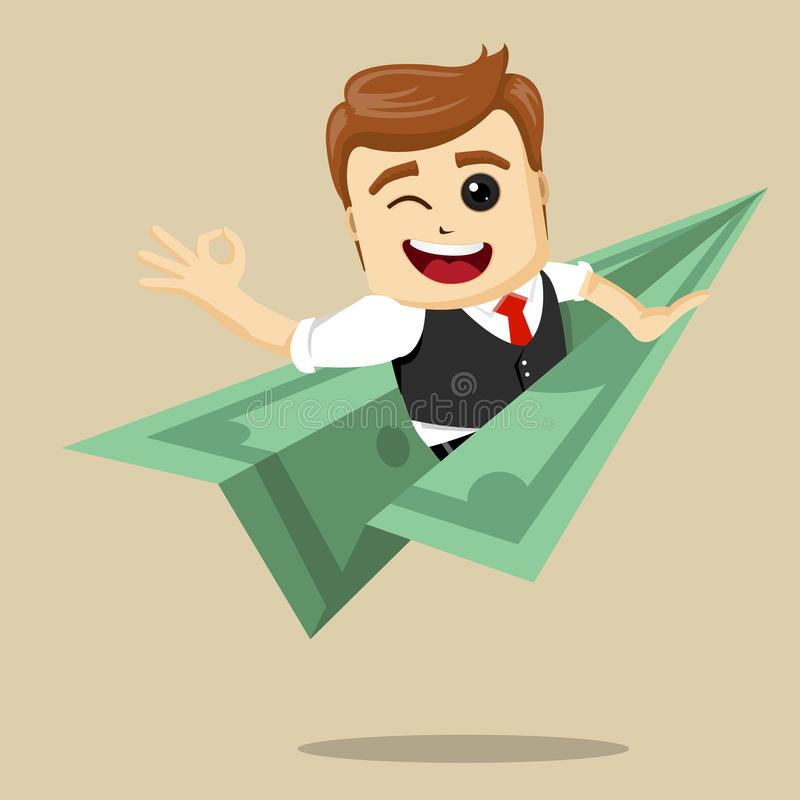 Voo do homem de negócios do vetor no plano do dólar ilustração stock