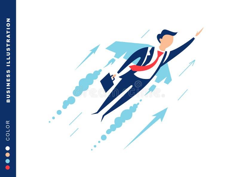Voo do homem de negócios nas asas do céu ao sucesso ilustração do vetor