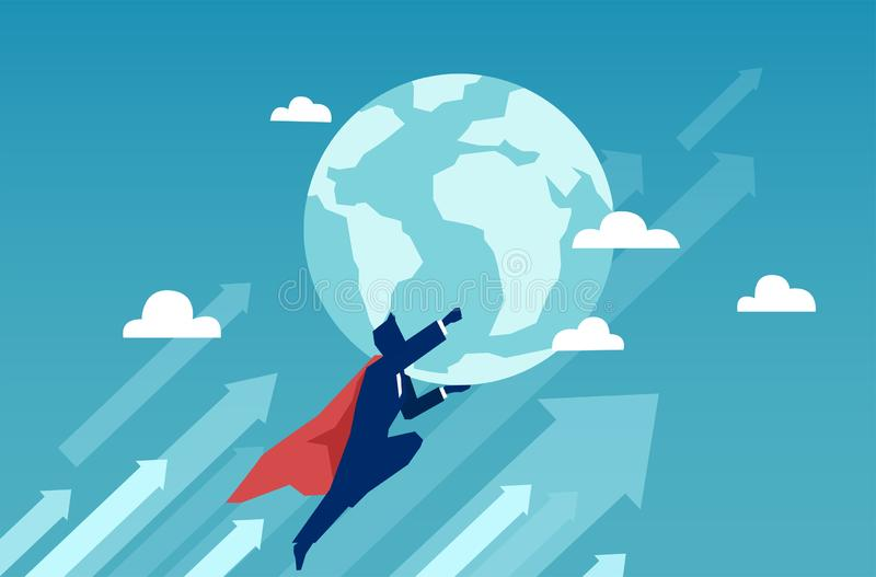 Voo do homem de negócios do super-herói e terra da terra arrendada ilustração royalty free