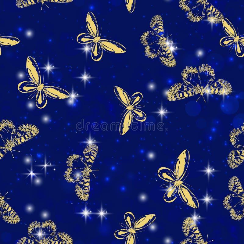 Voo do inseto da borboleta da joia da faísca com teste padrão de estrelas de brilho na promoção da propaganda ou sazonal dourado ilustração do vetor