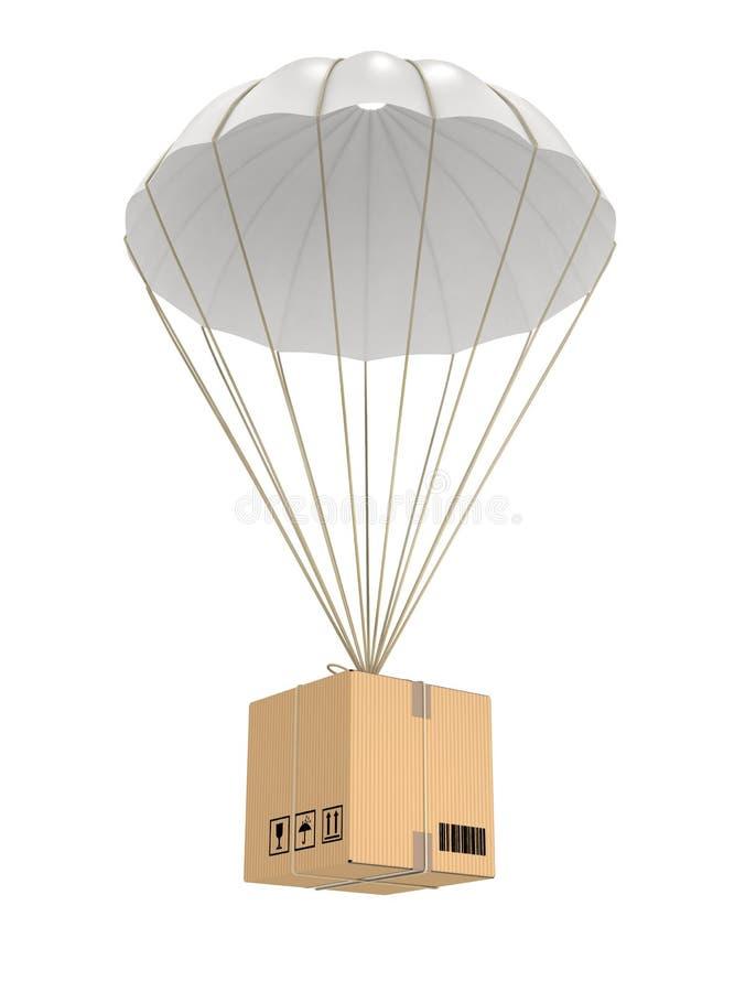Voo do pacote do paraquedas fotografia de stock