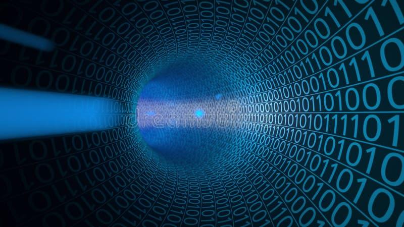 Voo do POV através do túnel azul abstrato feito com zero e uns Fundo alta tecnologia Uma comunicação, dados binários ilustração royalty free