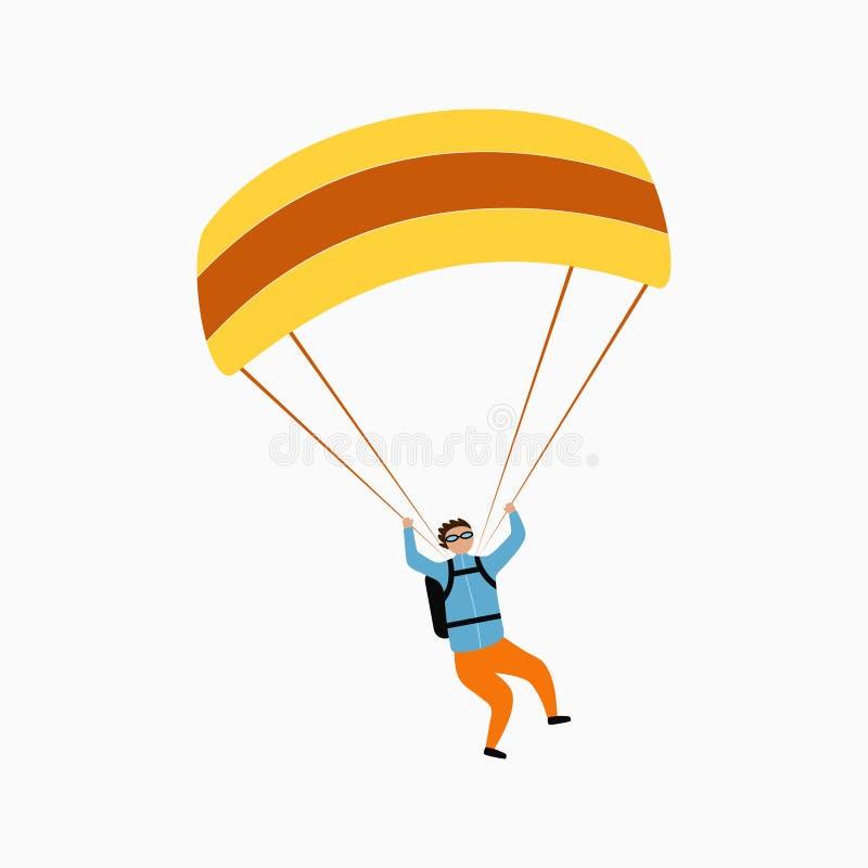 Voo do Skydiver com paraquedas Saltando em queda livre, saltando de paraquedas e esporte extremo, conceito ativo do lazer Vetor ilustração do vetor