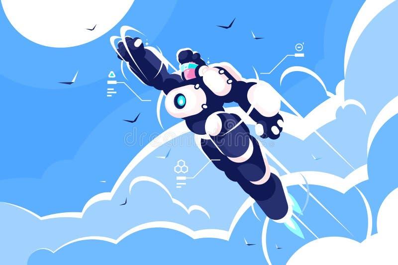 Voo do spacesuit do super-herói do astronauta do homem no céu ilustração royalty free