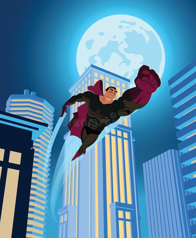 Voo do super-herói através da cidade da noite ilustração do vetor