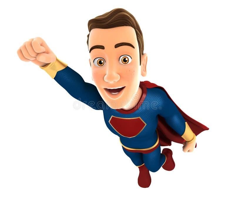 voo do super-herói 3d no vento ilustração stock
