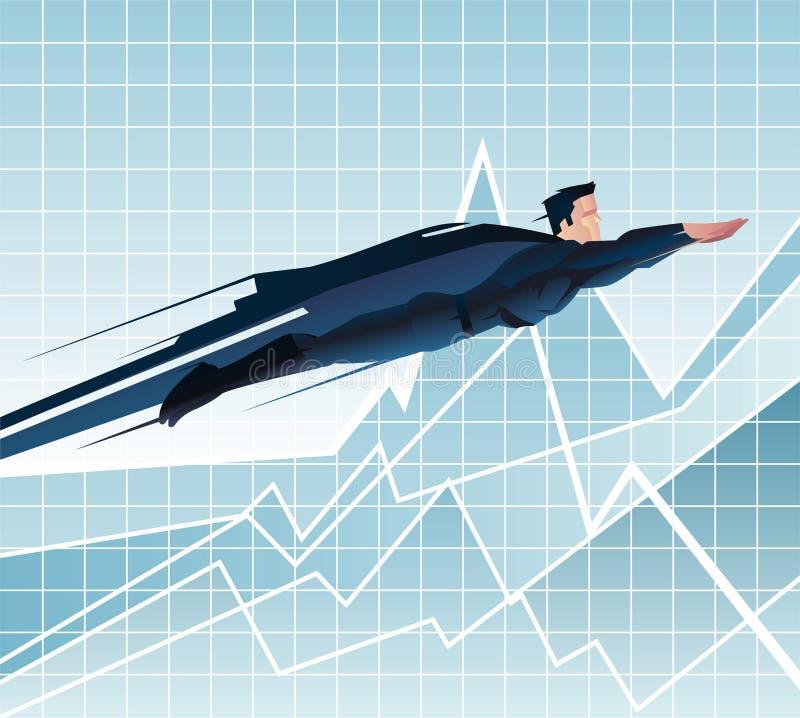 Voo do super-herói do homem de negócios dos desenhos animados ilustração stock