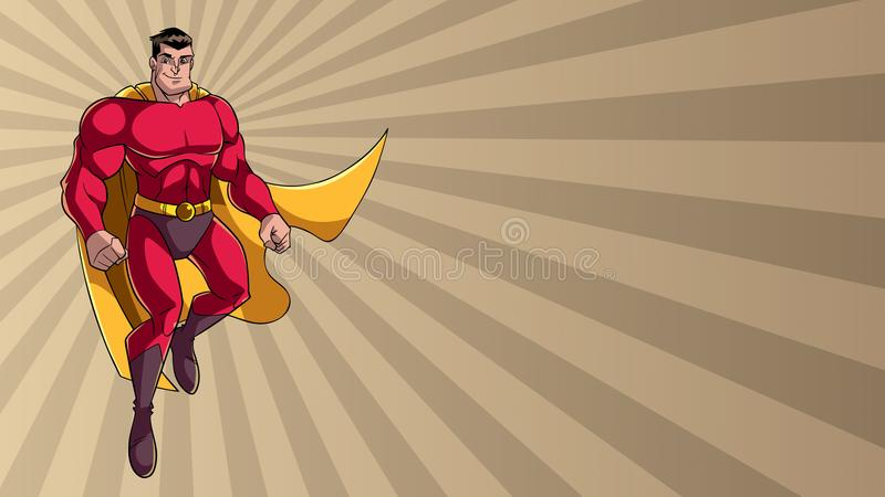 Voo do super-herói em Ray Light Background ilustração do vetor
