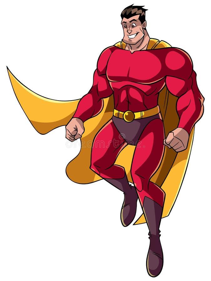 Voo do super-herói feliz ilustração do vetor