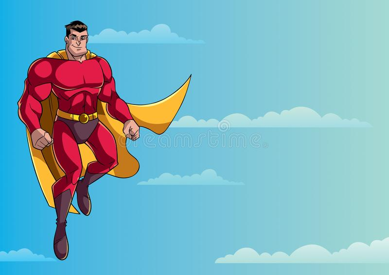 Voo do super-herói no céu ilustração do vetor