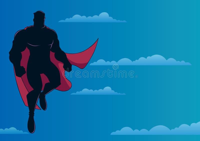 Voo do super-herói no céu ilustração royalty free