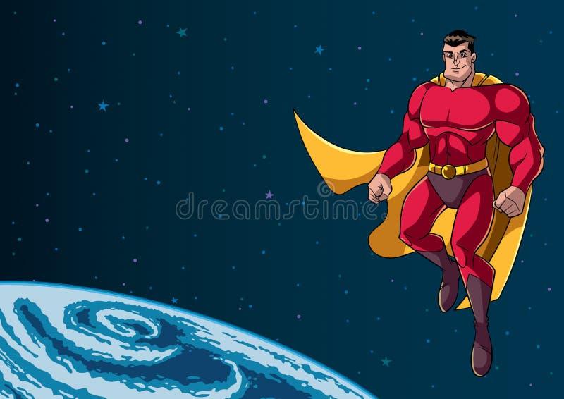 Voo do super-herói no espaço ilustração stock