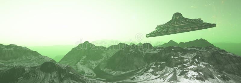 Voo do UFO sobre a ilustração estrangeira do planeta mountains-3d - 3d rendem foto de stock royalty free