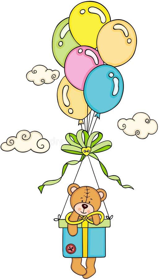 Voo do urso de peluche com presente e balões da caixa ilustração do vetor