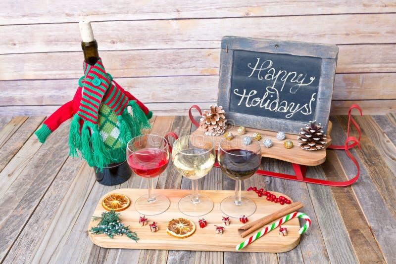 Voo do vinho do feriado com sinal do quadro foto de stock