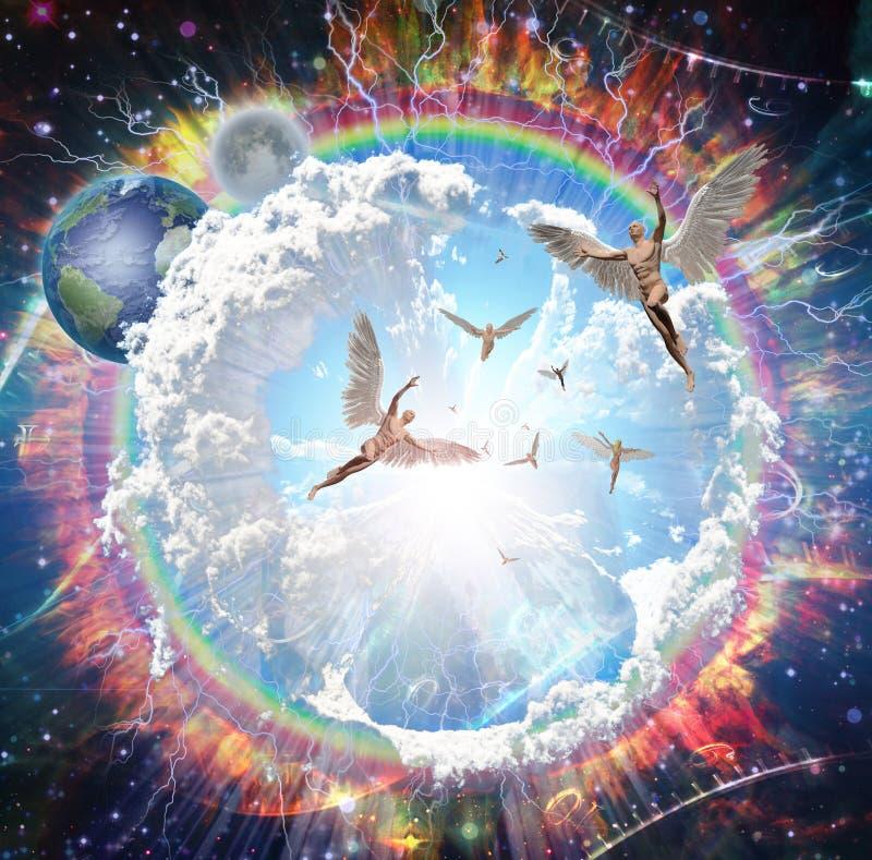 Voo dos anjos ilustração stock