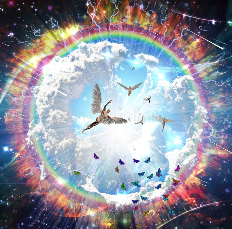 Voo dos anjos ilustração do vetor