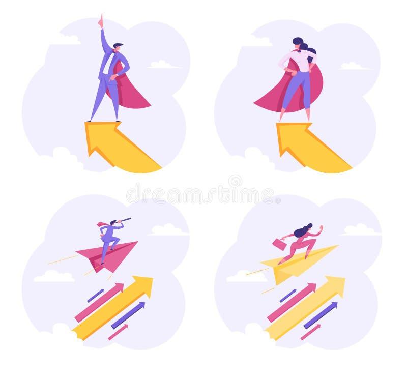Voo dos caráteres dos empresários do super-herói com seta acima no céu Visão da perspectiva, liderança do negócio ilustração royalty free