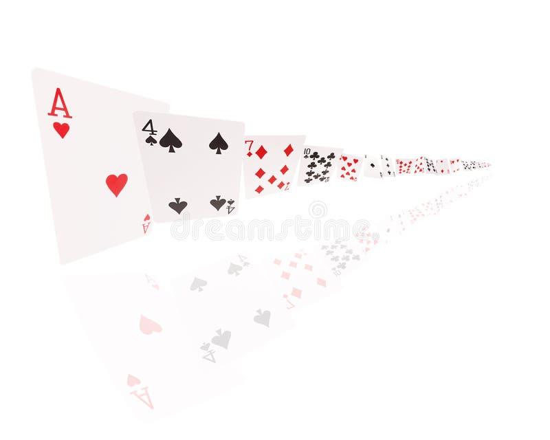 Voo dos cartões de jogo Isolado no fundo branco fotos de stock