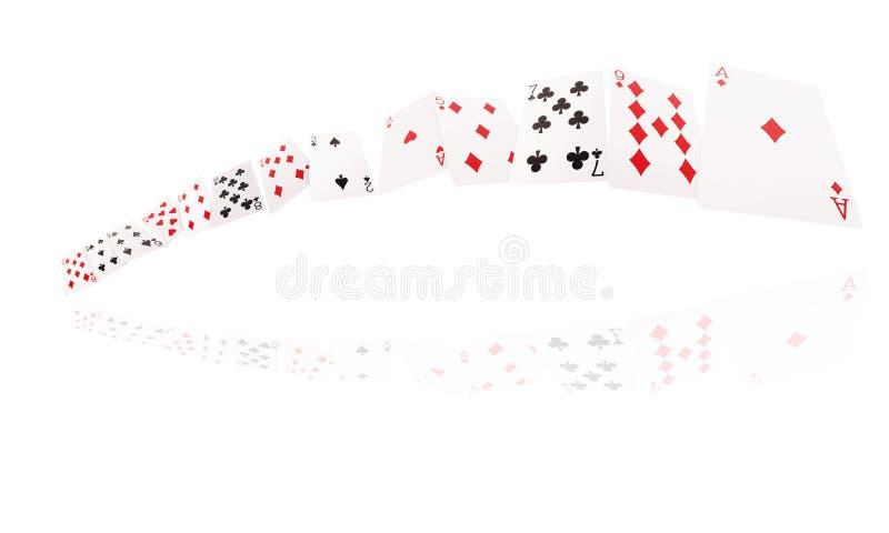 Voo dos cartões de jogo Isolado no fundo branco imagens de stock