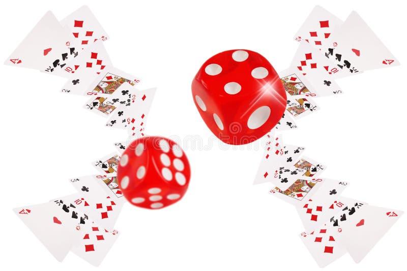 Voo dos cartões e dos dados de jogo na tabela do pôquer ilustração stock