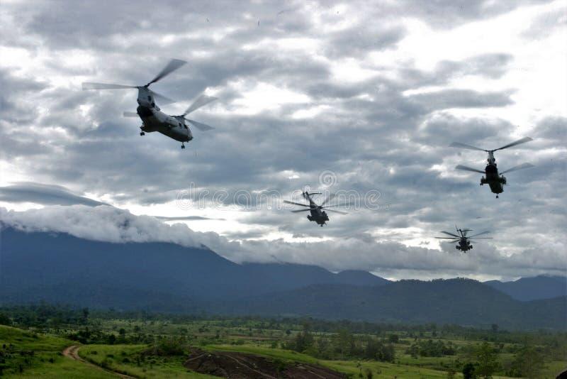 Voo dos helicópteros CH-46 imagens de stock royalty free
