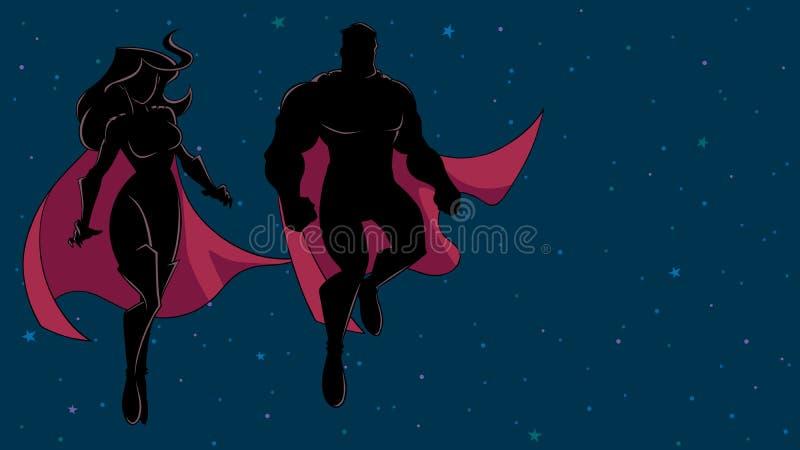 Voo dos pares do super-herói na silhueta do espaço ilustração do vetor