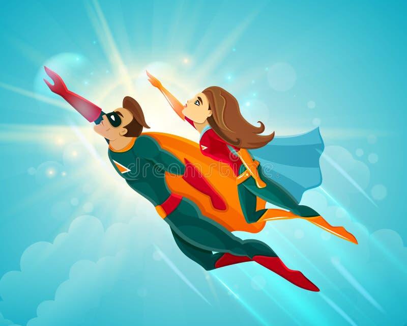 Voo dos pares dos super-herói ilustração do vetor