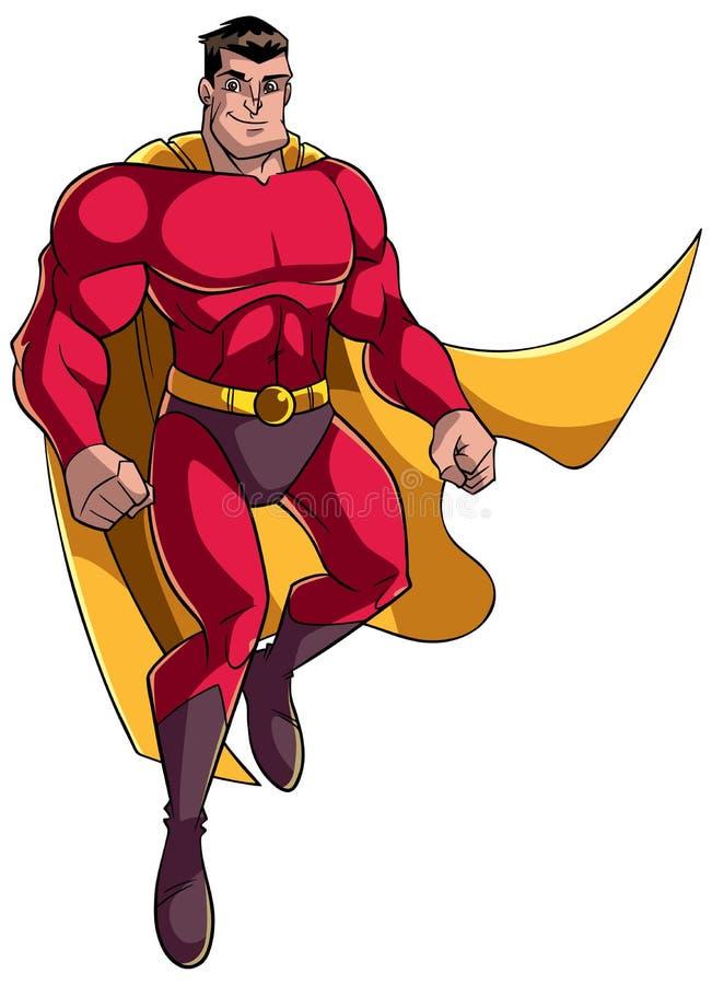 Voo e sorriso do super-herói ilustração do vetor