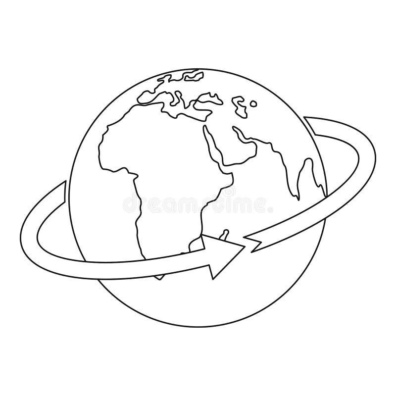 Voo em torno do ícone do mundo, estilo do esboço ilustração royalty free