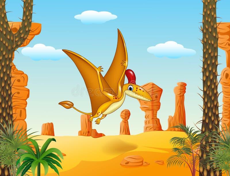 Voo engraçado do pterodátilo dos desenhos animados com fundo pré-histórico ilustração royalty free
