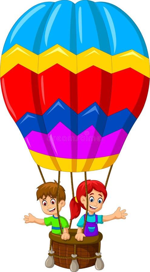 Voo engraçado dos desenhos animados de duas crianças em um balão de ar quente ilustração royalty free