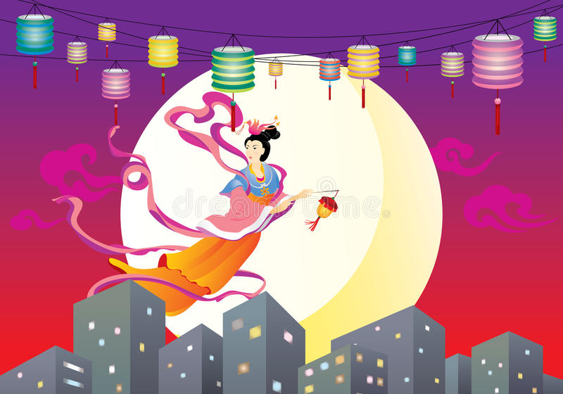 Voo feericamente chinês à ilustração da lua ilustração royalty free