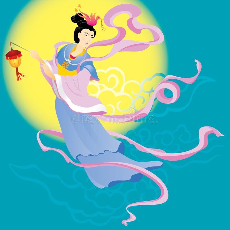 Voo feericamente chinês à lua ilustração royalty free