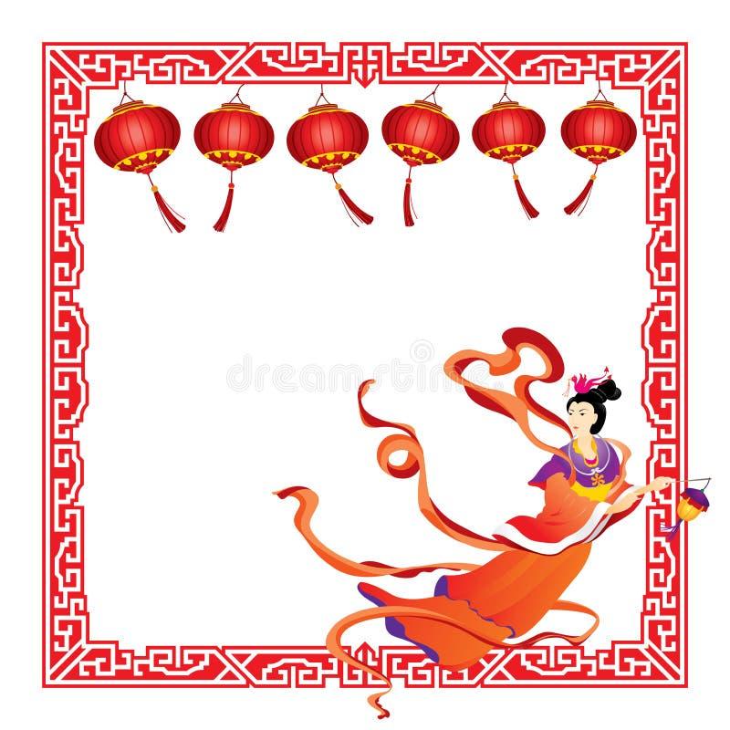 Voo feericamente chinês com beira vermelha da lanterna ilustração stock