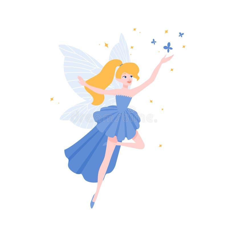 Voo feericamente no vestido elegante lindo isolado no fundo branco Criatura mágica voada mitológica ou folclo'rico ilustração do vetor