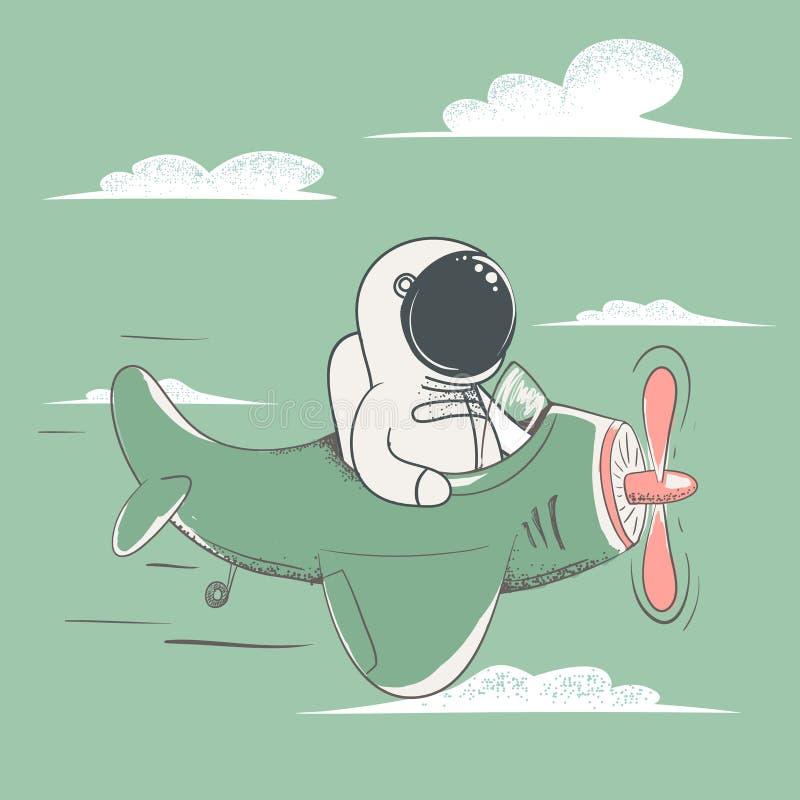 Voo feliz do astronauta no plano no céu ilustração stock