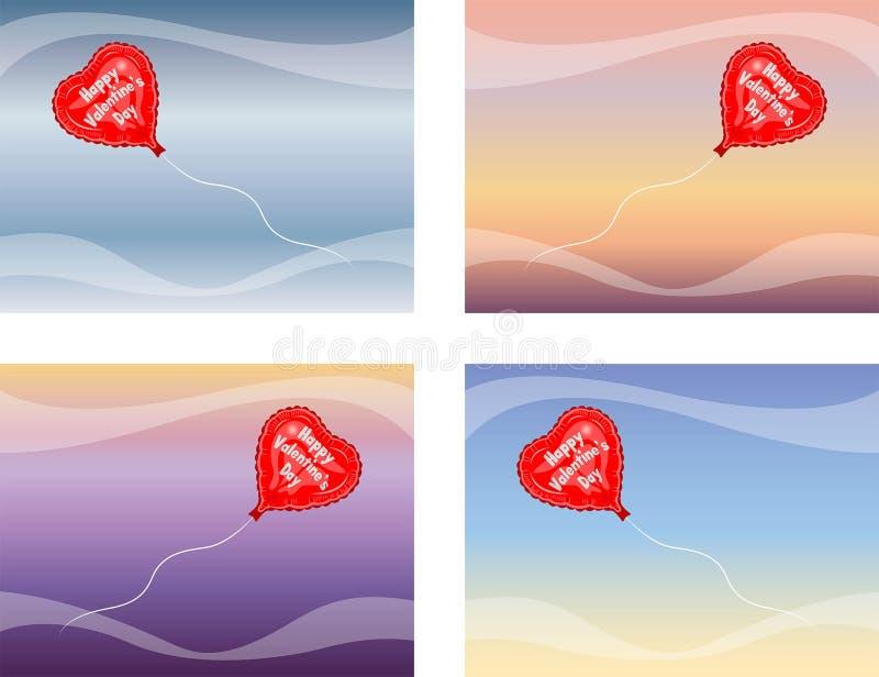 Voo feliz do balão do dia de Valentine's ilustração stock