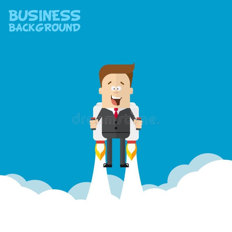 Voo feliz do homem de negócios ou do gerente em jetpacks a seu objetivo ilustração stock