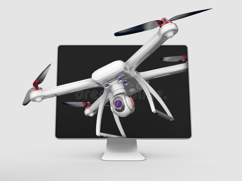 Voo fora do quadrocopter do monitor, do zangão ou do helicóptero, ilustração 3D isolada no cinza foto de stock