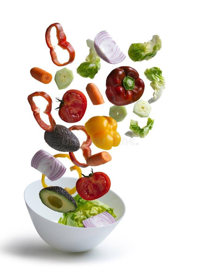 Voo fresco isolado do fundo - imagem dos vegetais de salada fotografia de stock royalty free