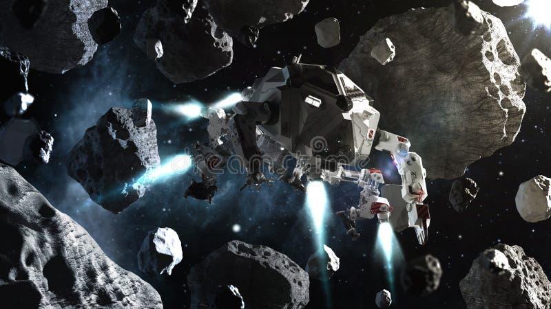Voo futurista da nave espacial no espaço entre asteroides ilustração do vetor