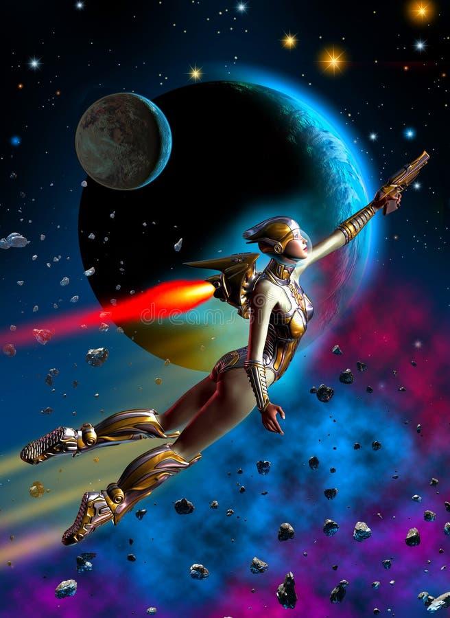 Voo futurista do soldado da mulher no espaço, nas estrelas do fundo, nos planetas, na nebulosa e nos asteroides, ilustração 3d ilustração royalty free