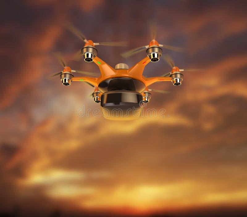 Voo levando da carga de Hexacopter no céu do por do sol ilustração royalty free