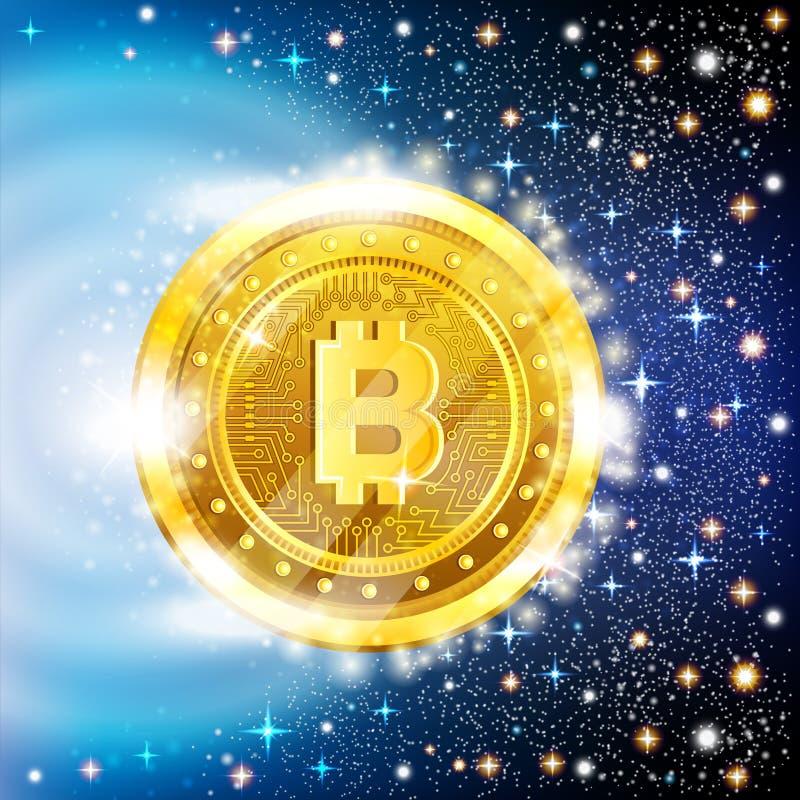 Voo mordido dourado da moeda no fundo estrelado do espaço ilustração do vetor