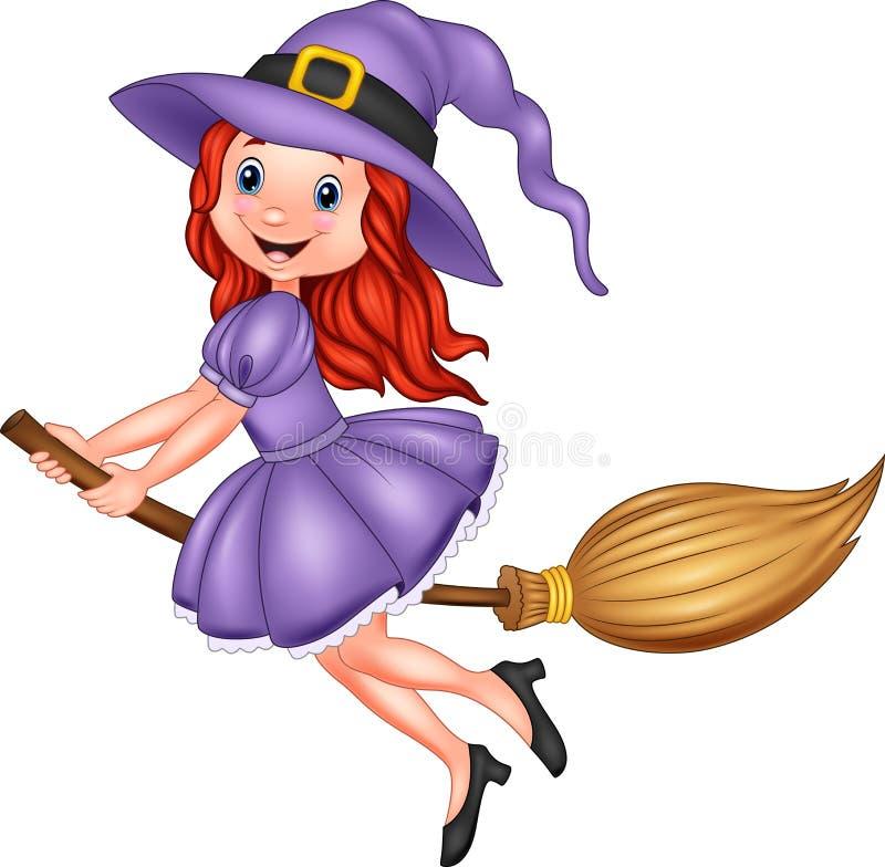 Voo novo da bruxa dos desenhos animados com uma vassoura ilustração do vetor