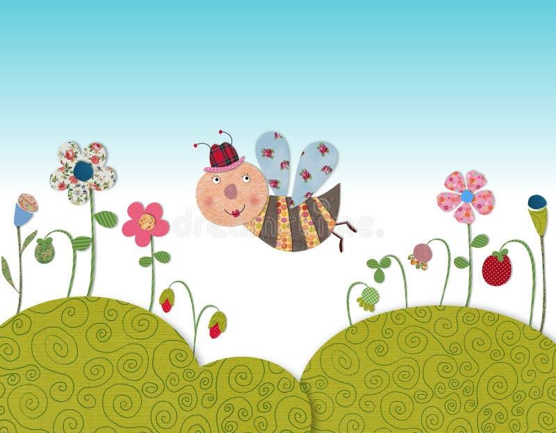 Voo pequeno da abelha ilustração royalty free