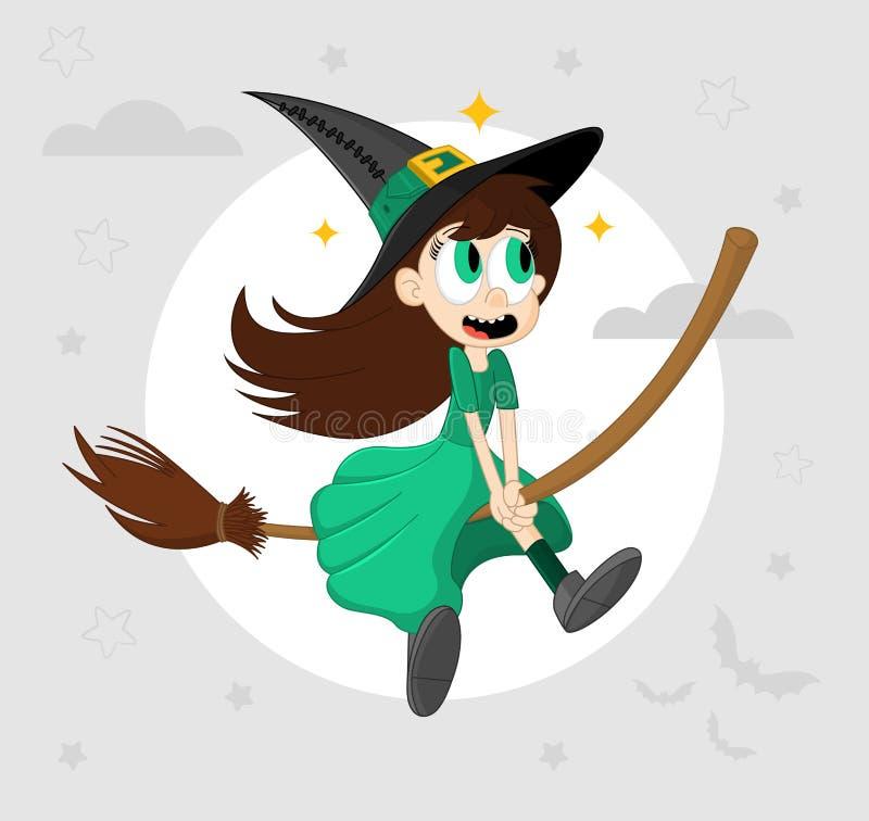 Voo pequeno engraçado bonito da bruxa em um cabo de vassoura Ilustra??o do vetor dos desenhos animados de Dia das Bruxas Elemento ilustração stock