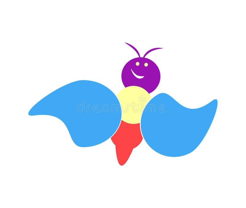 Voo pernicioso colorido brilhante da borboleta em um fundo branco Vetor liso ilustração royalty free